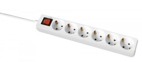 Steckdosenleiste 6-fach 1,4m IP20 weiß (Schalter+ÜLS) 230V 16A H05