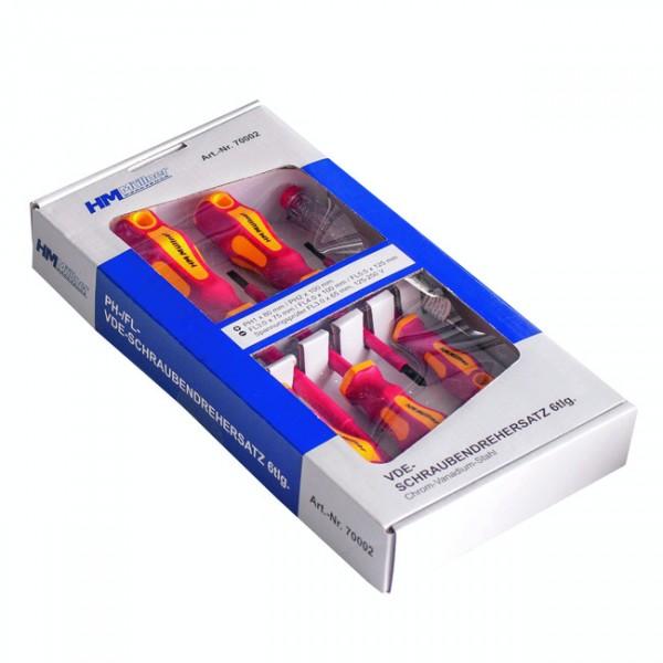 HM Schraubendrehersatz VDE 6tlg PH, FL, 2K-Griff