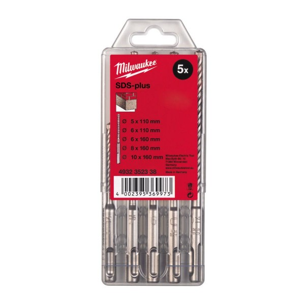 Milwaukee Hammerbohrer M2 SDS-Plus Set 5-teilig 5/6 x 110 mm, 6/8/10 x 160 mm