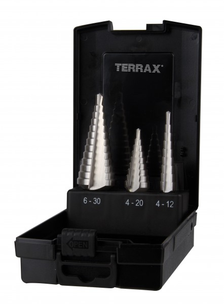 Ruko/TerraX Stufenbohrersatz HSS 3-teilig Kunststoffkassette