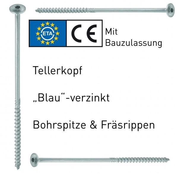 Holzbauschrauben Tellerkopf verzinkt ETA-Bauzulassung (50er, 100er Pack)